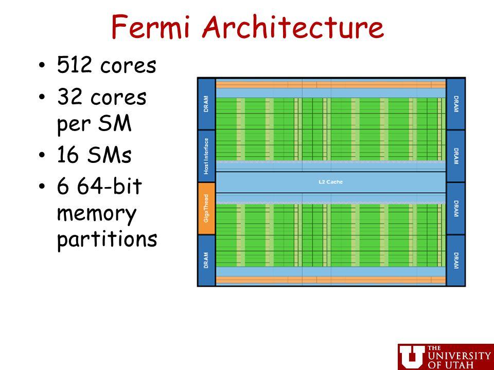 Fermi Architecture 512 cores 32 cores per SM 16 SMs 6 64-bit memory partitions