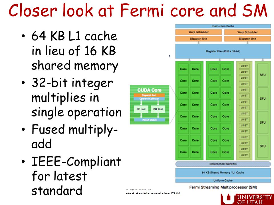 Closer look at Fermi core and SM 64 KB L1 cache in lieu of 16 KB shared memory 32-bit integer multiplies in single operation Fused multiply- add IEEE-