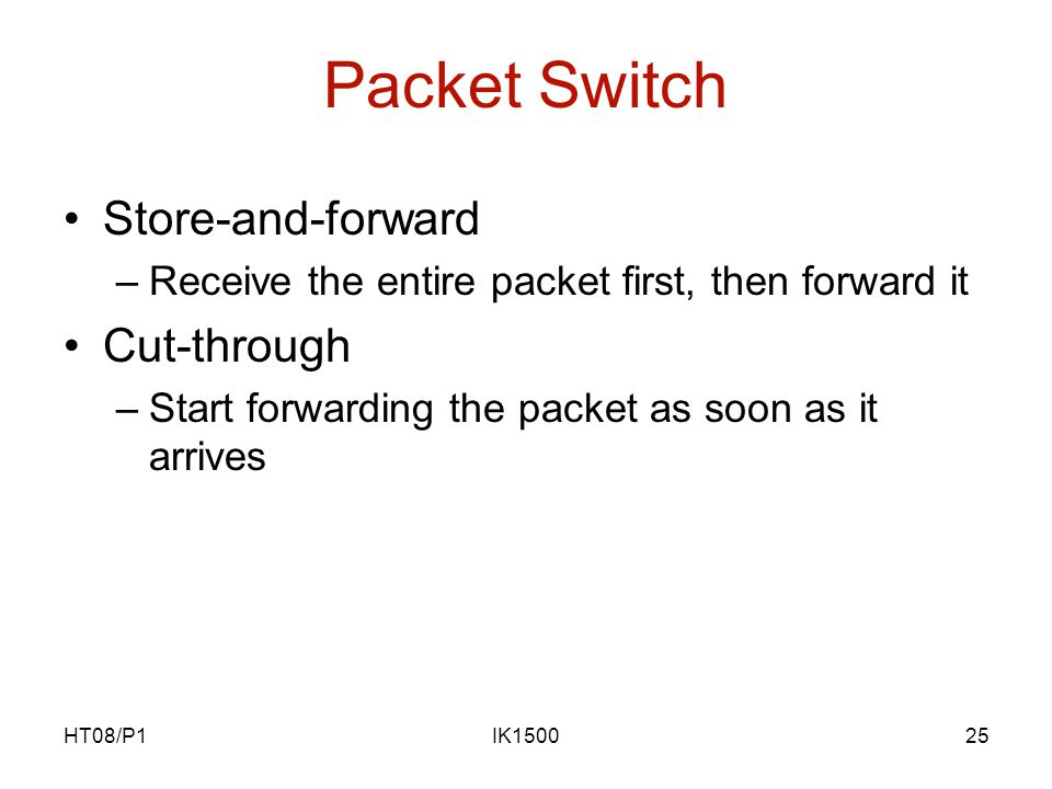 HT08/P1IK150025 Packet Switch Store-and-forward –Receive the entire packet first, then forward it Cut-through –Start forwarding the packet as soon as it arrives