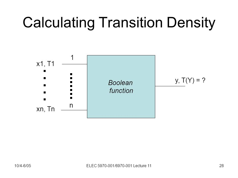 10/4-6/05ELEC 5970-001/6970-001 Lecture 1128 Calculating Transition Density Boolean function 1 n x1, T1.
