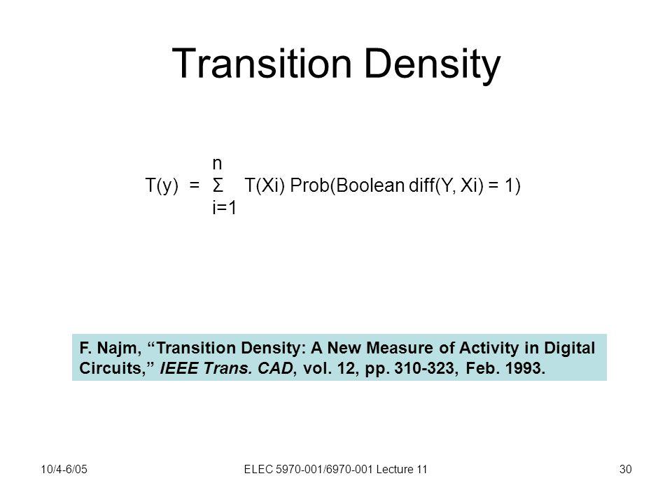 10/4-6/05ELEC 5970-001/6970-001 Lecture 1130 Transition Density n T(y) =Σ T(Xi) Prob(Boolean diff(Y, Xi) = 1) i=1 F.