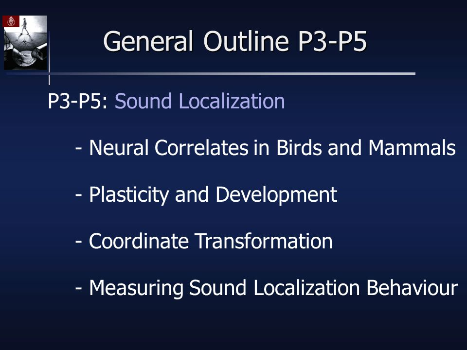 General Outline P3-P5 P3-P5: Sound Localization - Neural Correlates in Birds and Mammals - Plasticity and Development - Coordinate Transformation - Measuring Sound Localization Behaviour