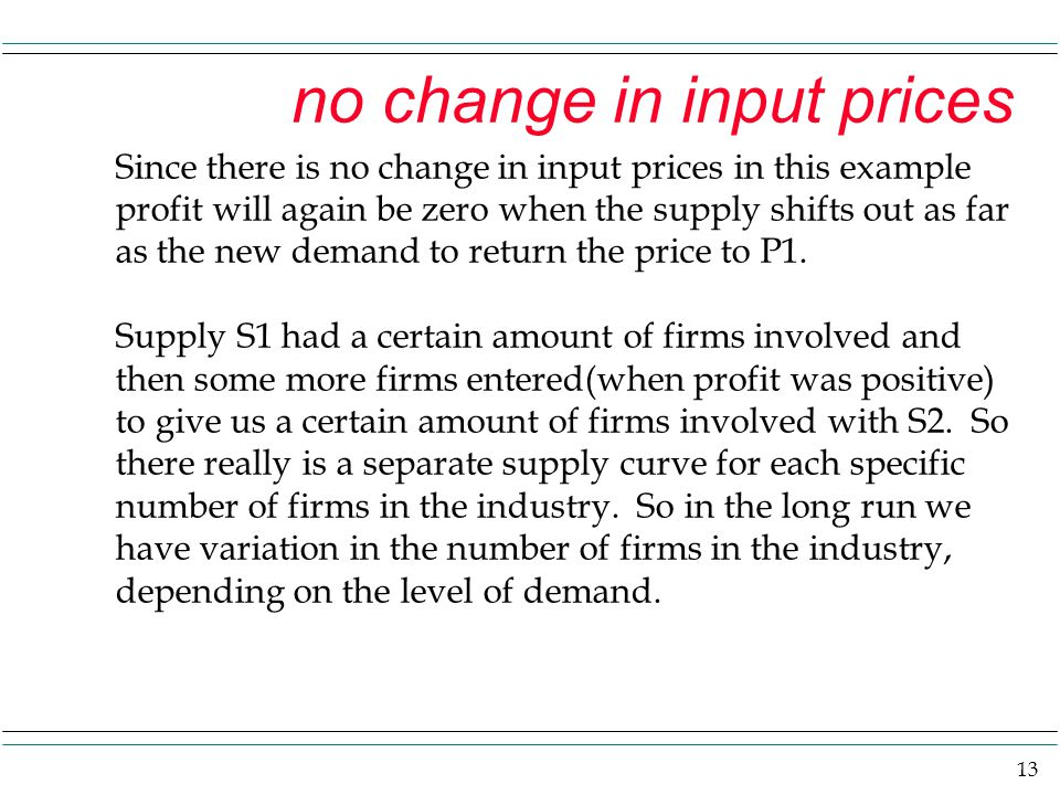 13 no change in input prices Since there is no change in input prices in this example profit will again be zero when the supply shifts out as far as t