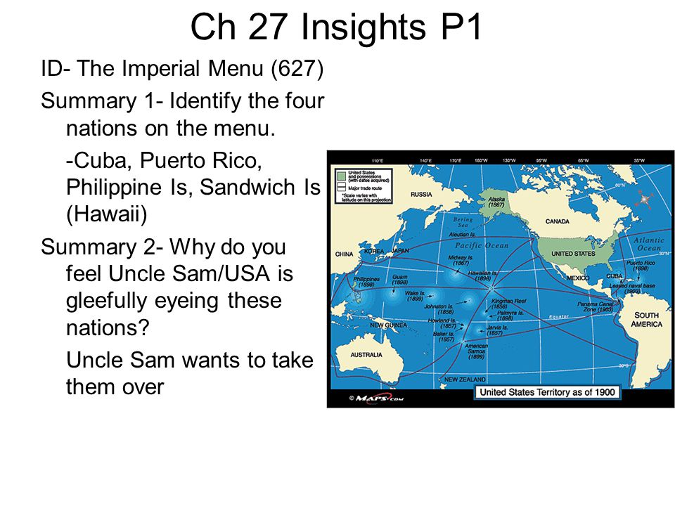 Ch 27 Insights P1 ID- The Imperial Menu (627) Summary 1- Identify the four nations on the menu. -Cuba, Puerto Rico, Philippine Is, Sandwich Is (Hawaii
