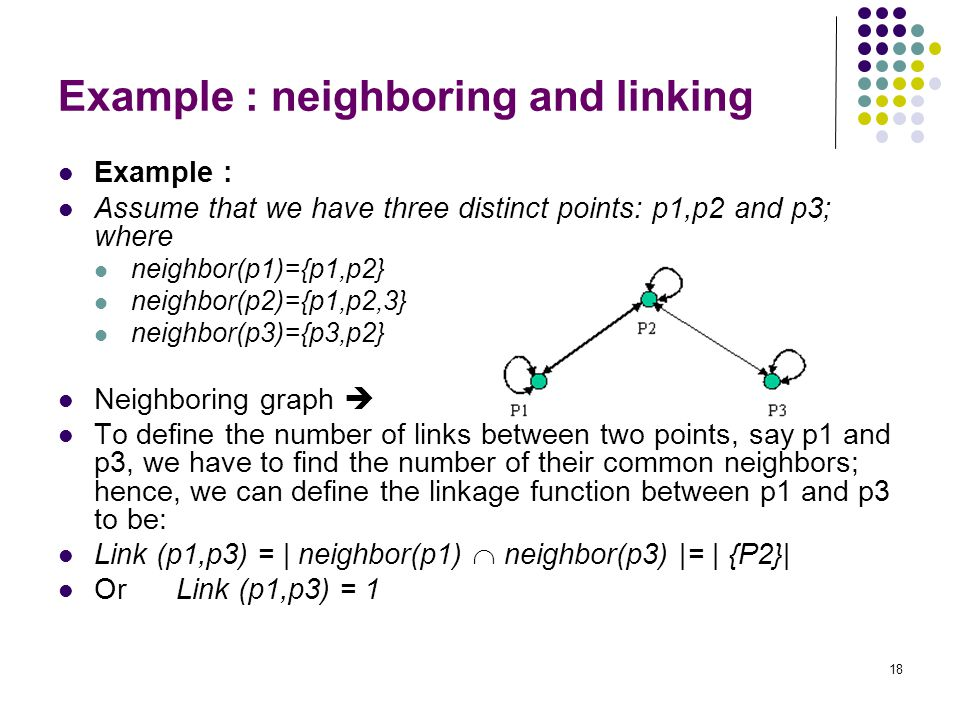 18 Example : neighboring and linking Example : Assume that we have three distinct points: p1,p2 and p3; where neighbor(p1)={p1,p2} neighbor(p2)={p1,p2