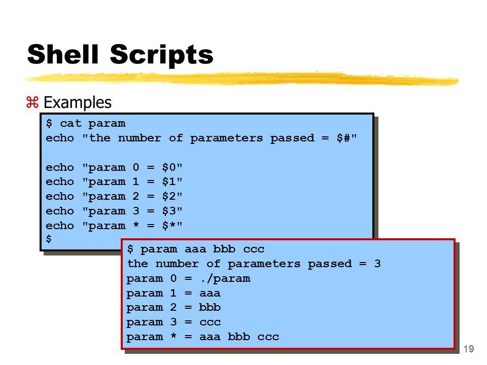 19 Shell Scripts zExamples $ cat param echo