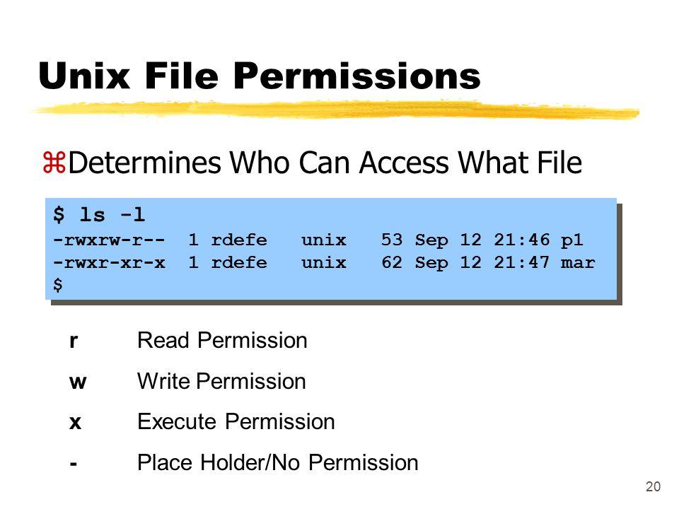 20 Unix File Permissions zDetermines Who Can Access What File $ ls -l -rwxrw-r-- 1 rdefe unix 53 Sep 12 21:46 p1 -rwxr-xr-x 1 rdefe unix 62 Sep 12 21: