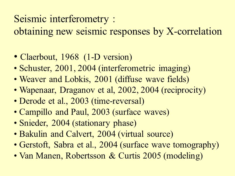 Conclusions Exact and approximate representations of Green's functions for seismic interferometry Main contributions come from stationary points Free surface obviates the need of closed integral along sources Uncorrelated noise sources obviates the need of integral along sources Random source distribution suppresses artefacts from scatterers below sources Straightforward extension to elastodynamic situation