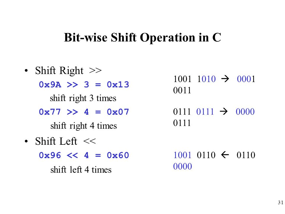 31 Bit-wise Shift Operation in C Shift Right >> 0x9A >> 3 = 0x13 shift right 3 times 0x77 >> 4 = 0x07 shift right 4 times Shift Left << 0x96 << 4 = 0x
