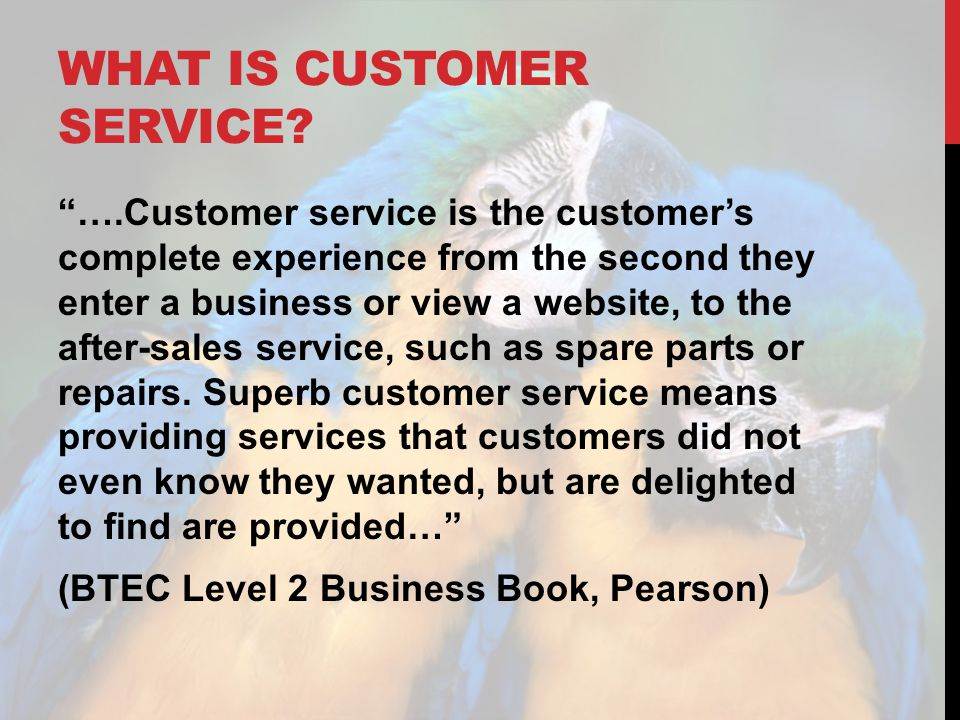 "WHAT IS CUSTOMER SERVICE? ""….Customer service is the customer's complete experience from the second they enter a business or view a website, to the af"