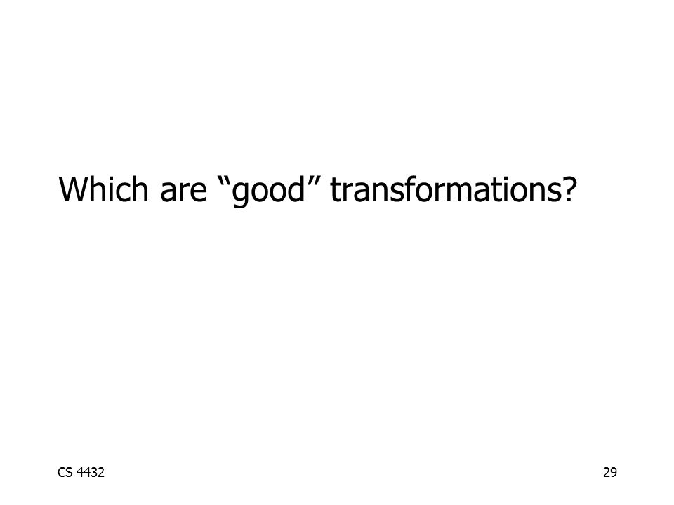CS 443229 Which are good transformations