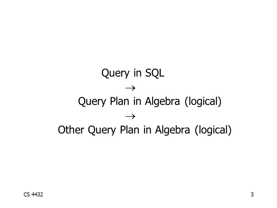 CS 44323 Query in SQL  Query Plan in Algebra (logical)  Other Query Plan in Algebra (logical)