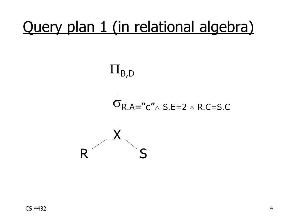 CS 44324 Query plan 1 (in relational algebra)  B,D  R.A = c  S.E=2  R.C=S.C  X RS