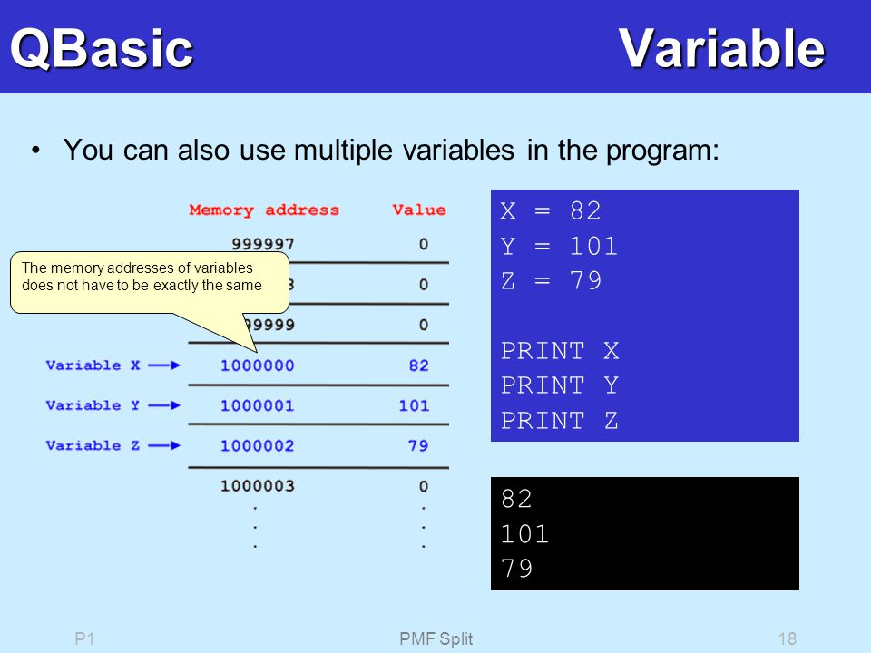 P1PMF Split18 QBasicVariable You can also use multiple variables in the program: X = 82 Y = 101 Z = 79 PRINT X PRINT Y PRINT Z 82 101 79 The memory addresses of variables does not have to be exactly the same