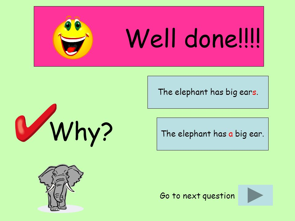 Well done!!!! Why Go to next question The elephant has a big ear. The elephant has big ears.