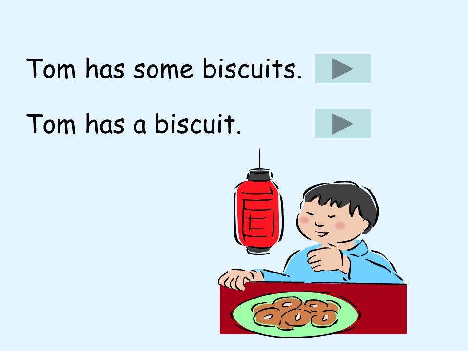 Tom has some biscuits. Tom has a biscuit.