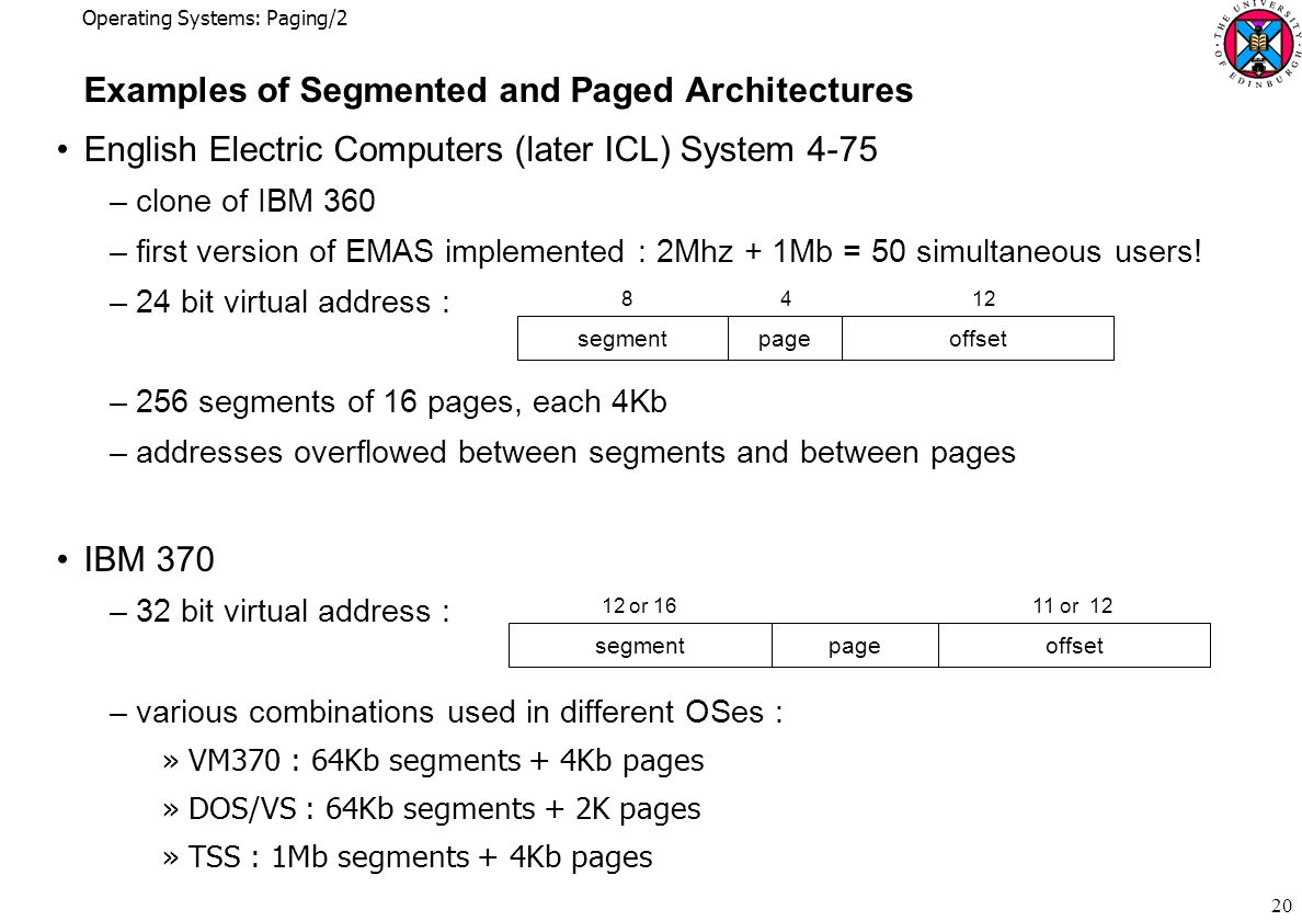 Operating Systems: Paging/2 20 Examples of Segmented and Paged Architectures English Electric Computers (later ICL) System 4-75 –clone of IBM 360 –first version of EMAS implemented : 2Mhz + 1Mb = 50 simultaneous users.