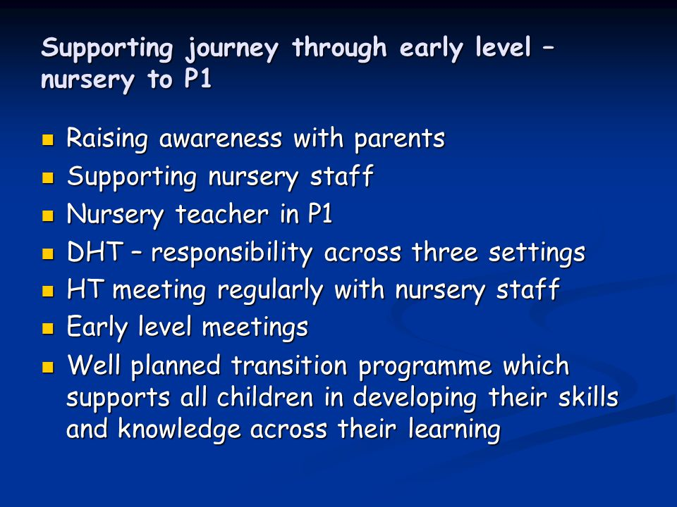 Supporting journey through early level – nursery to P1 Raising awareness with parents Raising awareness with parents Supporting nursery staff Supporting nursery staff Nursery teacher in P1 Nursery teacher in P1 DHT – responsibility across three settings DHT – responsibility across three settings HT meeting regularly with nursery staff HT meeting regularly with nursery staff Early level meetings Early level meetings Well planned transition programme which supports all children in developing their skills and knowledge across their learning Well planned transition programme which supports all children in developing their skills and knowledge across their learning