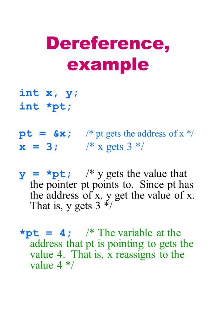 Dereference, example int x, y; int *pt; pt = &x; /* pt gets the address of x */ x = 3; /* x gets 3 */ y = *pt; /* y gets the value that the pointer pt points to.