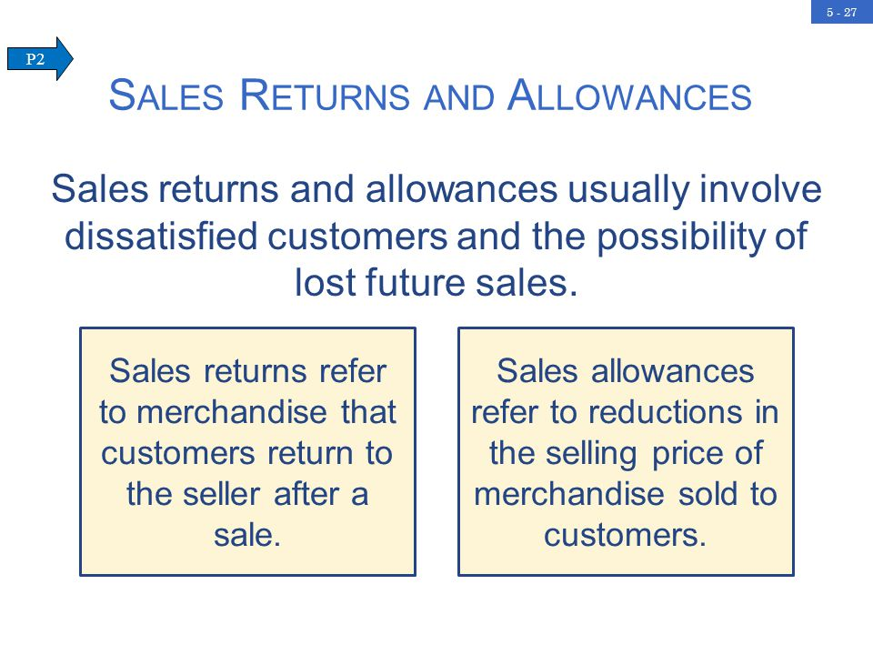 5 - 27 S ALES R ETURNS AND A LLOWANCES P2 Sales returns and allowances usually involve dissatisfied customers and the possibility of lost future sales.