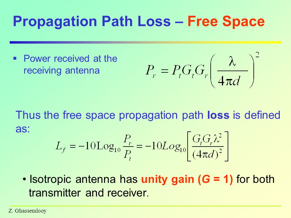 Z. Ghassemlooy Propagation Path Loss – Free Space  Power received at the receiving antenna Isotropic antenna has unity gain (G = 1) for both transmit