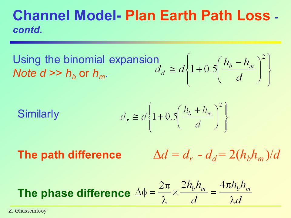 Z. Ghassemlooy Channel Model- Plan Earth Path Loss - contd.