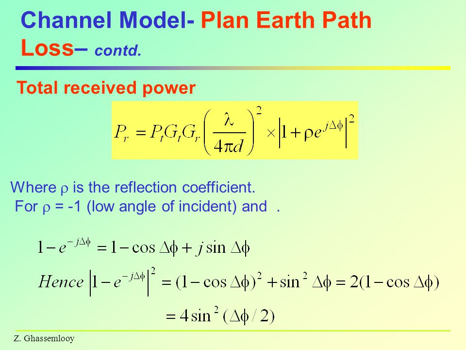 Z. Ghassemlooy Channel Model- Plan Earth Path Loss– contd. Total received power Where  is the reflection coefficient. For  = -1 (low angle of incide
