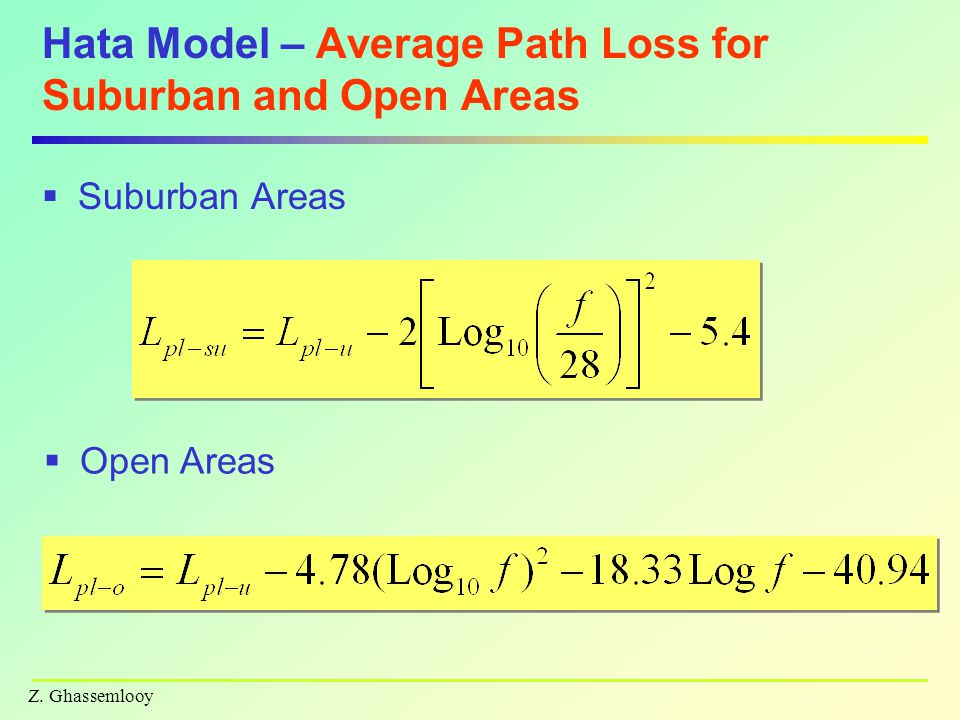 Z. Ghassemlooy Hata Model – Average Path Loss for Suburban and Open Areas  Suburban Areas  Open Areas