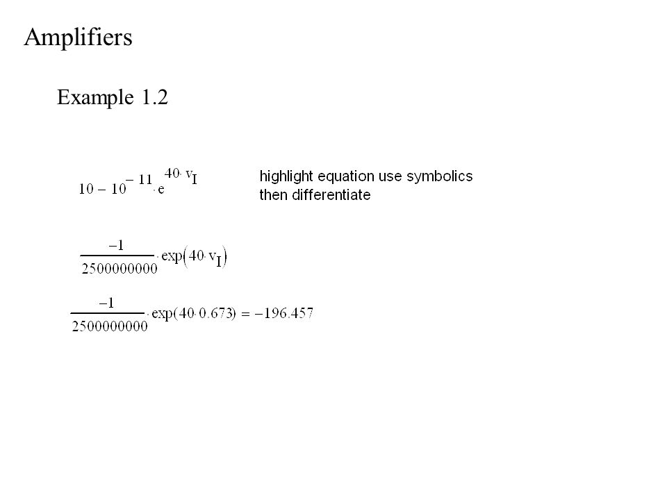Amplifiers Example 1.2