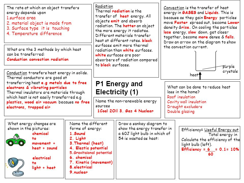P1 Energy and Electricity (1) The rate at which an object transfers energy depends upon 1.surface area 2.