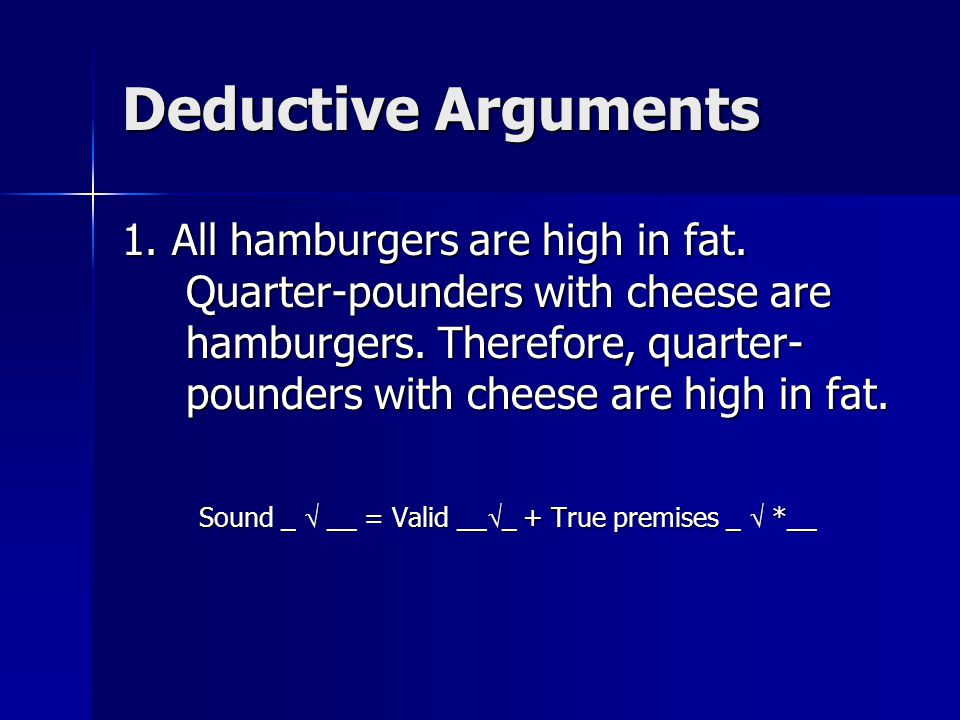 Deductive Arguments 1. All hamburgers are high in fat.
