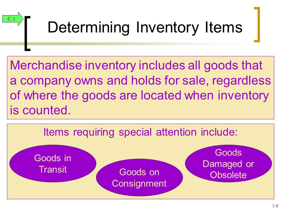 Determining Inventory Items Merchandise inventory includes all goods that a company owns and holds for sale, regardless of where the goods are located when inventory is counted.