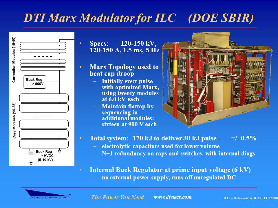 The Power You Need DTI – Released to SLAC 11/15/08 www.divtecs.com DTI Marx Modulator for ILC (DOE SBIR) Specs: 120-150 kV, 120-150 A, 1.5 ms, 5 Hz Ma