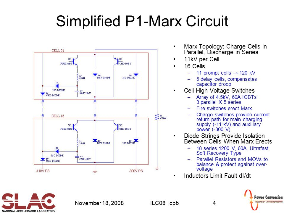 November 18, 2008ILC08 cpb4 Simplified P1-Marx Circuit Marx Topology: Charge Cells in Parallel, Discharge in Series 11kV per Cell 16 Cells –11 prompt