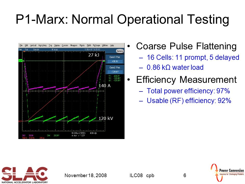 November 18, 2008ILC08 cpb6 P1-Marx: Normal Operational Testing Coarse Pulse Flattening –16 Cells: 11 prompt, 5 delayed –0.86 kΩ water load Efficiency