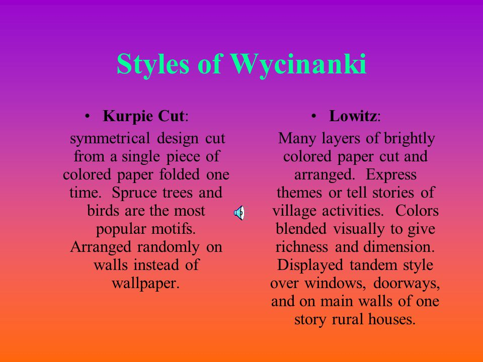 Design Wycinanki pronounced Vee-chee-non-kee is the polish word for 'paper-cut design' Intricate designs cut with scissors.