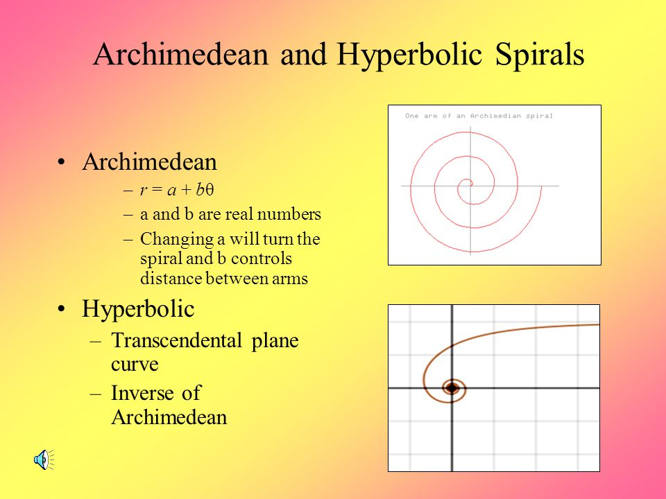 Spiral Fractals Spiral – a curve that turns around some central point or axis, getting closer or farther from it Two Dimensional Spirals –r is a conti