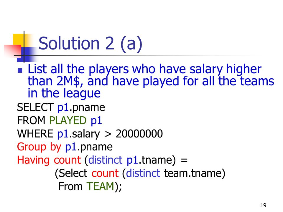 19 Solution 2 (a) List all the players who have salary higher than 2M$, and have played for all the teams in the league SELECT p1.pname FROM PLAYED p1