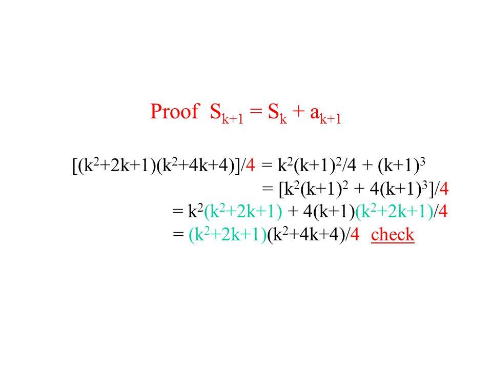 Proof S k+1 = S k + a k+1 [(k 2 +2k+1)(k 2 +4k+4)]/4 = k 2 (k+1) 2 /4 + (k+1) 3 = [k 2 (k+1) 2 + 4(k+1) 3 ]/4 = k 2 (k 2 +2k+1) + 4(k+1)(k 2 +2k+1)/4 = (k 2 +2k+1)(k 2 +4k+4)/4 check