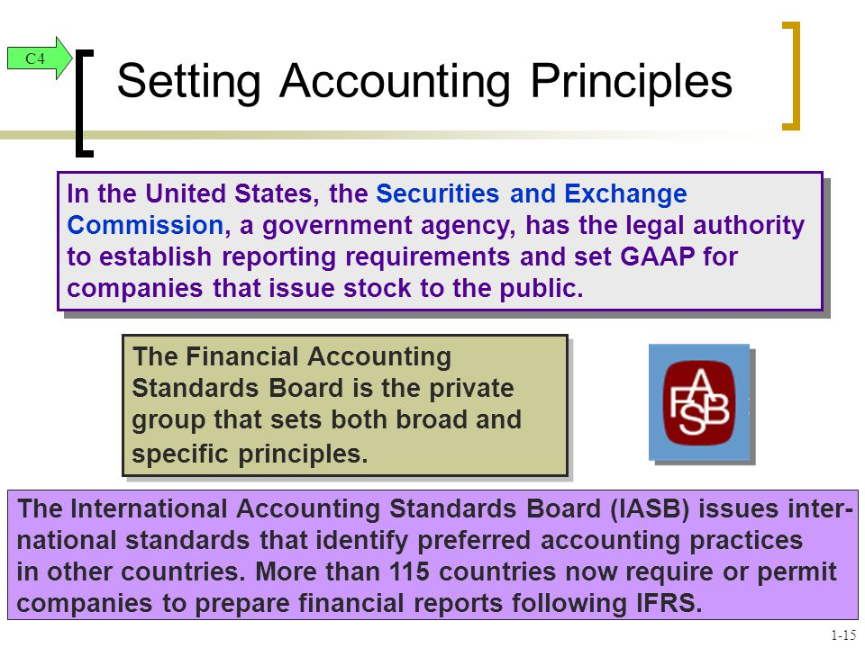In the United States, the Securities and Exchange Commission, a government agency, has the legal authority to establish reporting requirements and set