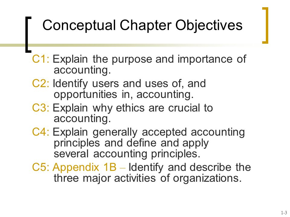 Conceptual Chapter Objectives C1: Explain the purpose and importance of accounting. C2: Identify users and uses of, and opportunities in, accounting.