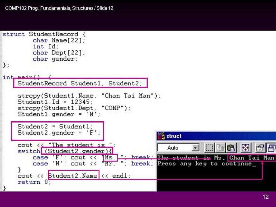 COMP102 Prog. Fundamentals, Structures / Slide 11 11 Chan Tai Man 12345 M COMP Ex.