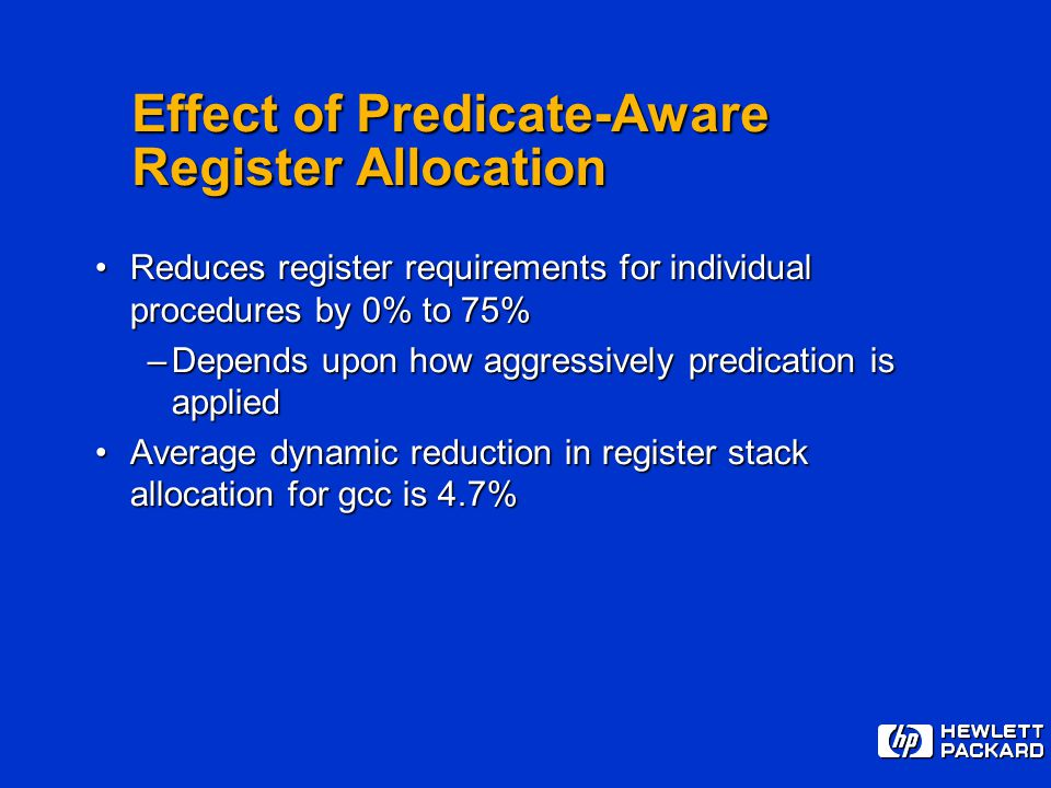 Effect of Predicate-Aware Register Allocation Reduces register requirements for individual procedures by 0% to 75%Reduces register requirements for in