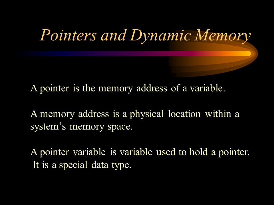 Pointers and Dynamic Memory Sometimes we may want a function to change a pointer so that it points to a different location This is accomplished by using a reference parameter that is a pointer type void change_location(int* & refPtr)