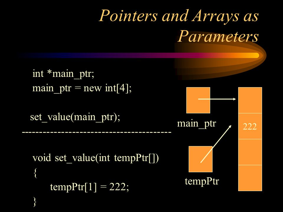 Pointers and Arrays as Parameters int *main_ptr; main_ptr = new int[4]; set_value(main_ptr); ----------------------------------------- void set_value(int tempPtr[]) { tempPtr[1] = 222; } 222 main_ptr tempPtr