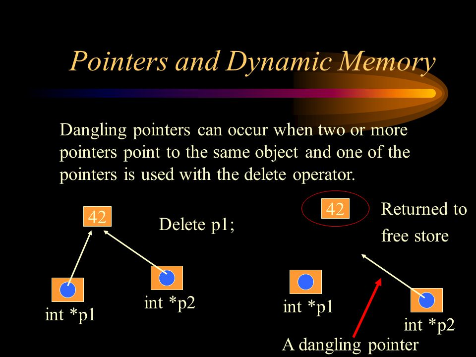 Pointers and Dynamic Memory Dangling pointers can occur when two or more pointers point to the same object and one of the pointers is used with the delete operator.
