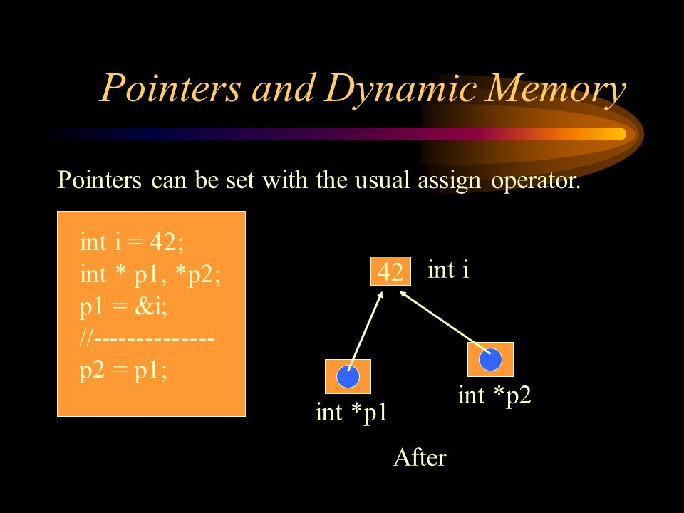 Pointers and Dynamic Memory Contents of pointer variables can be set with the assign operator.