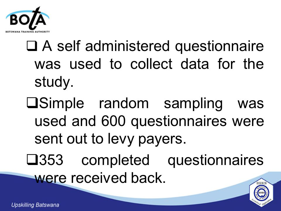  A self administered questionnaire was used to collect data for the study.