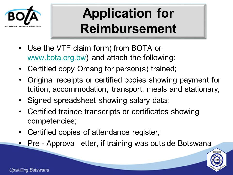  The Fund should pay for training costs upfront alongside the reimbursement approach.