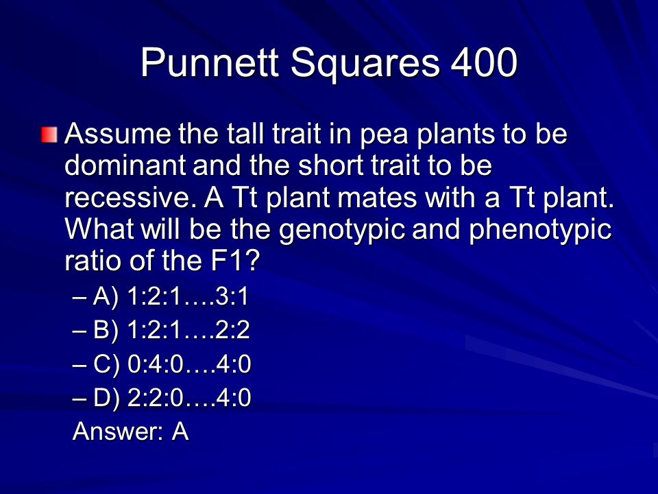 Punnett Squares 600 Assume the superpower of laser beams is a recessive trait (b).
